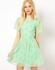 Sugarhill Boutique Lace Up Back Dress in Milkshake Print