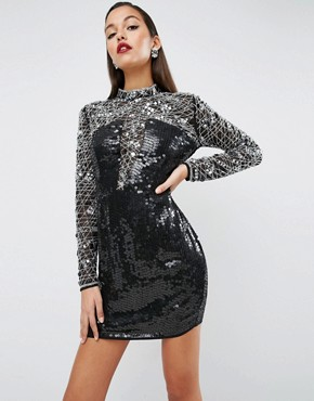 ASOS RED CARPET High Neck Embellished Bodycon Dress