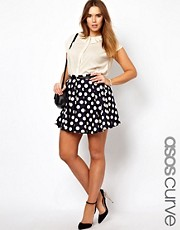ASOS CURVE Exclusive Skater Skirt In Spot