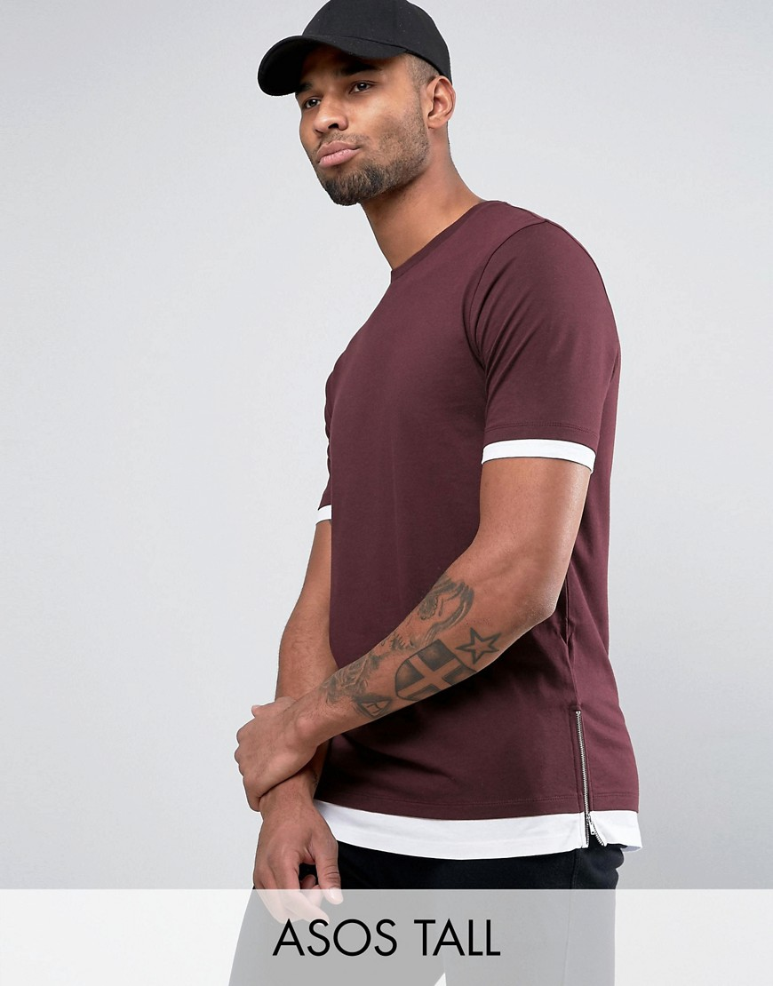 ASOS TALL Longline T-Shirt With Contrast Cuff And Hem And Side Zips - Red