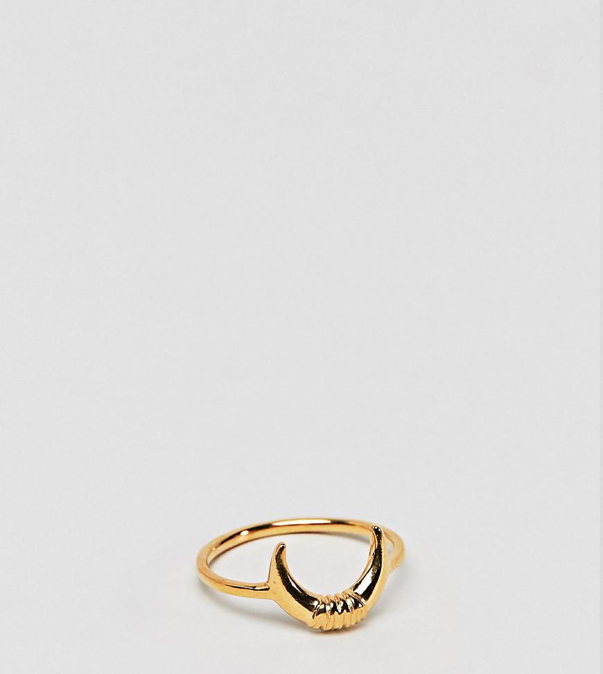 Позолоченное серебряное кольцо с отделкой в виде месяца ASOS DESIGN