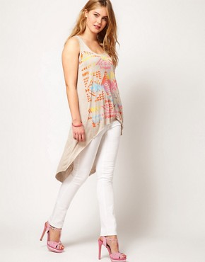 Image 4 ofASOS CURVE Exclusive Dip Back Top With Aztec Print