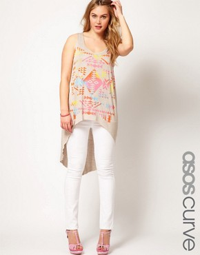 Image 1 ofASOS CURVE Exclusive Dip Back Top With Aztec Print