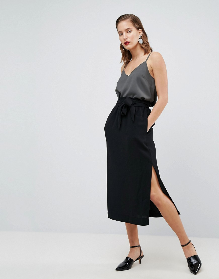 ASOS Paper Bag Waist Split Side Midi Pencil Skirt - Black