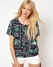 Selected Printed Woven Shell Top with Pockets