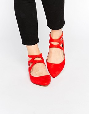 London Rebel Cross Strap Flat Shoes