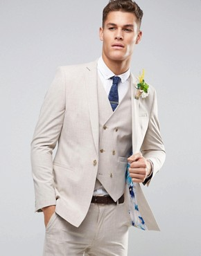 ASOS WEDDING Skinny Suit Jacket in Crosshatch Nep With Floral Print Lining
