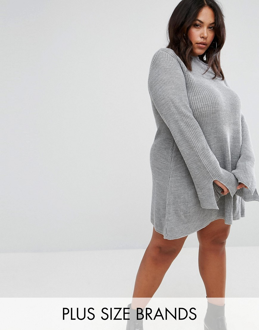 Club L Plus Size Oversize Knit Swing Dress in Grey - Grey