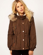 River Island - Parka con coulisse in vita