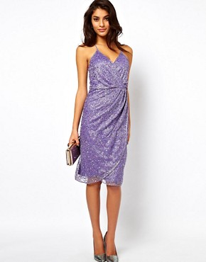 Image 4 ofASOS Cami Wrap Dress With Holographic Embellishment