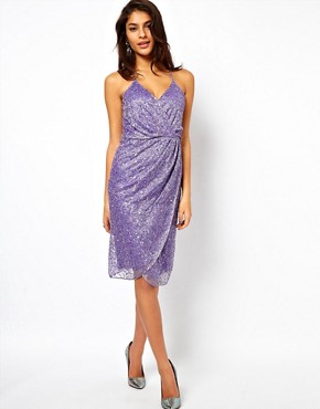 Image 1 ofASOS Cami Wrap Dress With Holographic Embellishment
