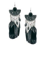 River Island Oversized Tribal Feather Drop Earrings