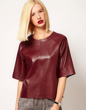 Image 1 ofASOS Leather T-Shirt