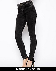 ASOS Ridley Supersoft High Waisted Ultra Skinny Jeans in Black Acid Wash