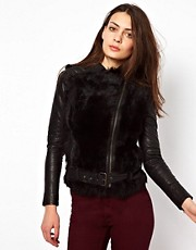 Muubaa Leather Aurora Shearling Biker Jacket