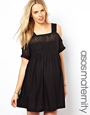 ASOS Maternity Crochet Lace Dress With Cold Shoulder