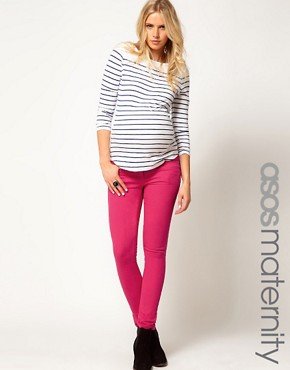 Image 1 ofASOS Maternity Exclusive Skinny Jeans In  Pink