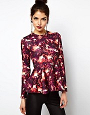 ASOS Top with Peplum in Space Print