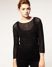 ASOS Premium Knitted Top With  Embellished Cross Detail