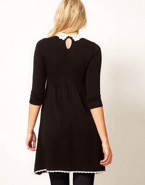Image 2 ofASOS Maternity Knitted Dress With Lace Collar