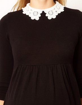 Image 3 ofASOS Maternity Knitted Dress With Lace Collar