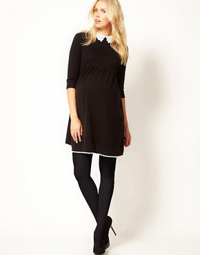 Image 4 ofASOS Maternity Knitted Dress With Lace Collar