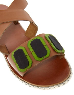 Image 4 ofASOS FELLOW Leather Flat Sandals
