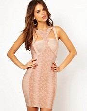 Forever Unique Bandage Bodycon Dress in Python Print