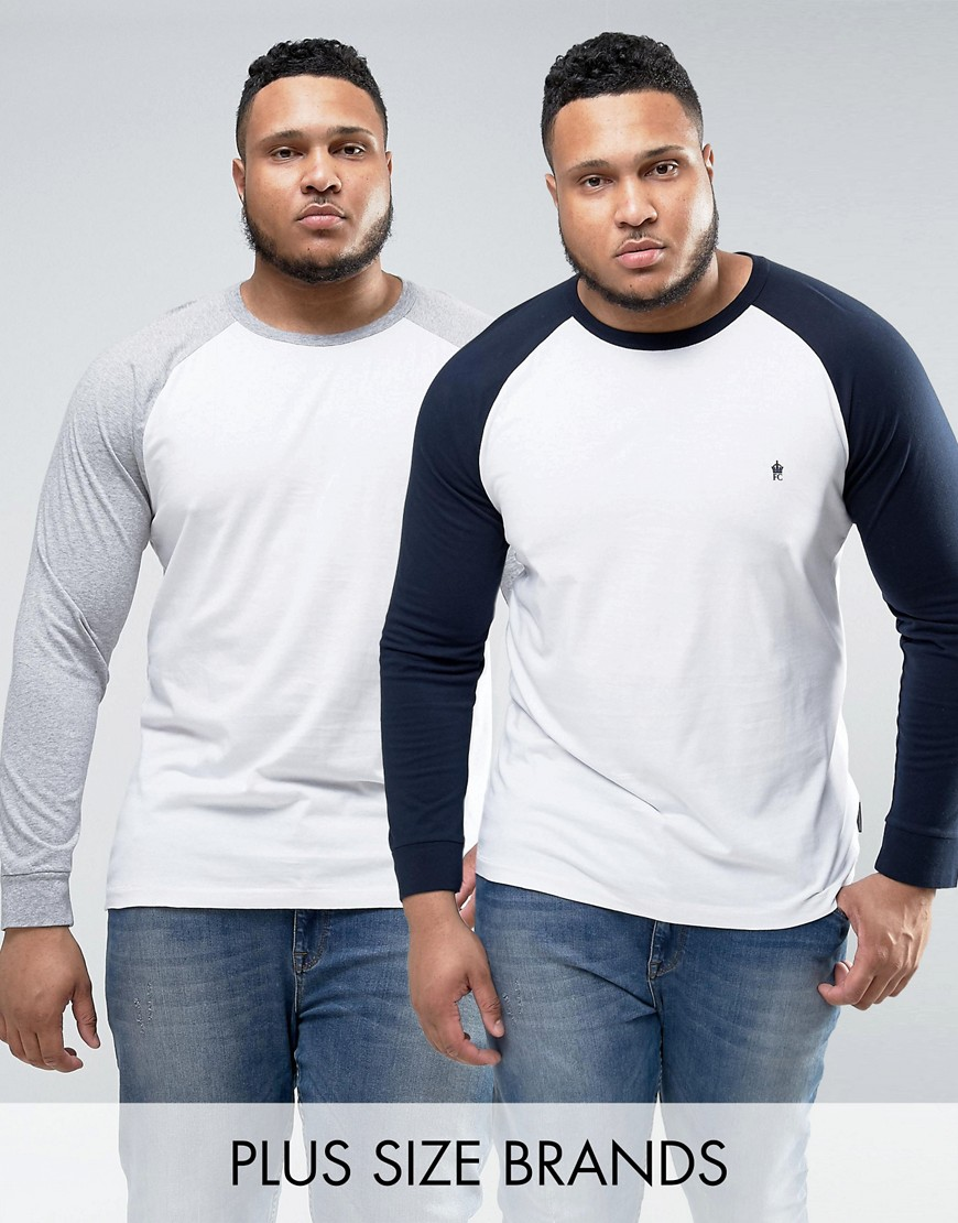 French Connection PLUS 2 Pack Contrast Raglan Long Sleeve T-Shirt - White