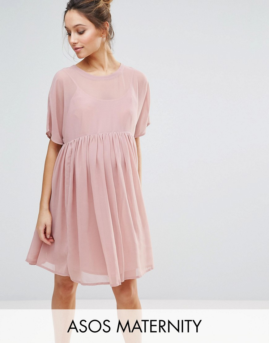 ASOS Maternity Woven Smock Dress - Pink