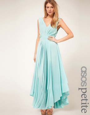 Image 1 ofASOS PETITE Exclusive Maxi Dress With Dipped Godess Hem