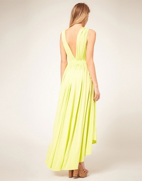 Image 2 ofASOS PETITE Exclusive Maxi Dress With Dipped Godess Hem