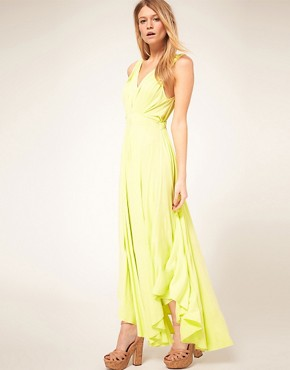 Image 4 ofASOS PETITE Exclusive Maxi Dress With Dipped Godess Hem