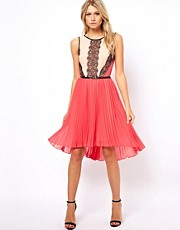Oasis Lace &amp; Colour Block Dress