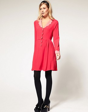 Image 4 ofASOS Collar Dress with Scallop Detail