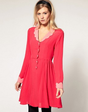Image 1 ofASOS Collar Dress with Scallop Detail