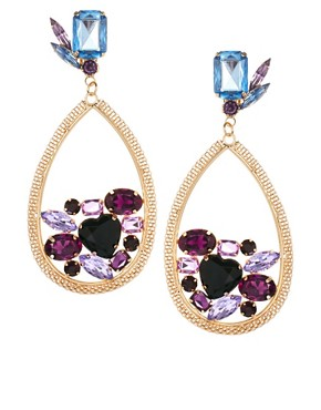 Image 1 ofASOS Jewel Disc Drop Earrings