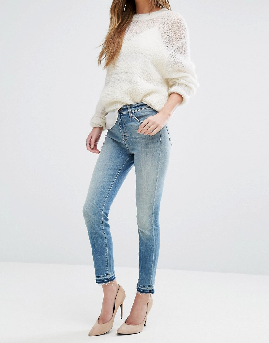 J Brand Alana High Rise Crop Raw Hem Jeans - Corrupted blue