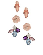 ASOS Multipack Flower Jewel Earrings