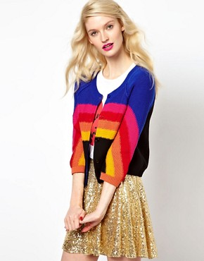 Image 1 ofSonia by Sonia Rykiel Rainbow Knitted Cardigan