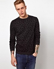 ASOS  Pullover mit Rundhalsausschnitt und Leopardenmuster