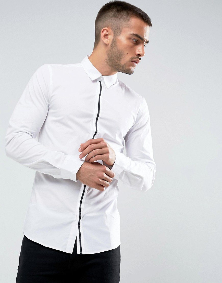 Only & Sons Skinny Smart Shirt With Placket Detail - White