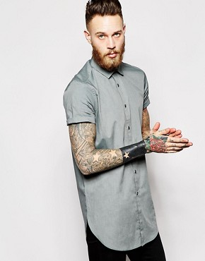 ASOS Shirt in Super Longline With Short Sleeves