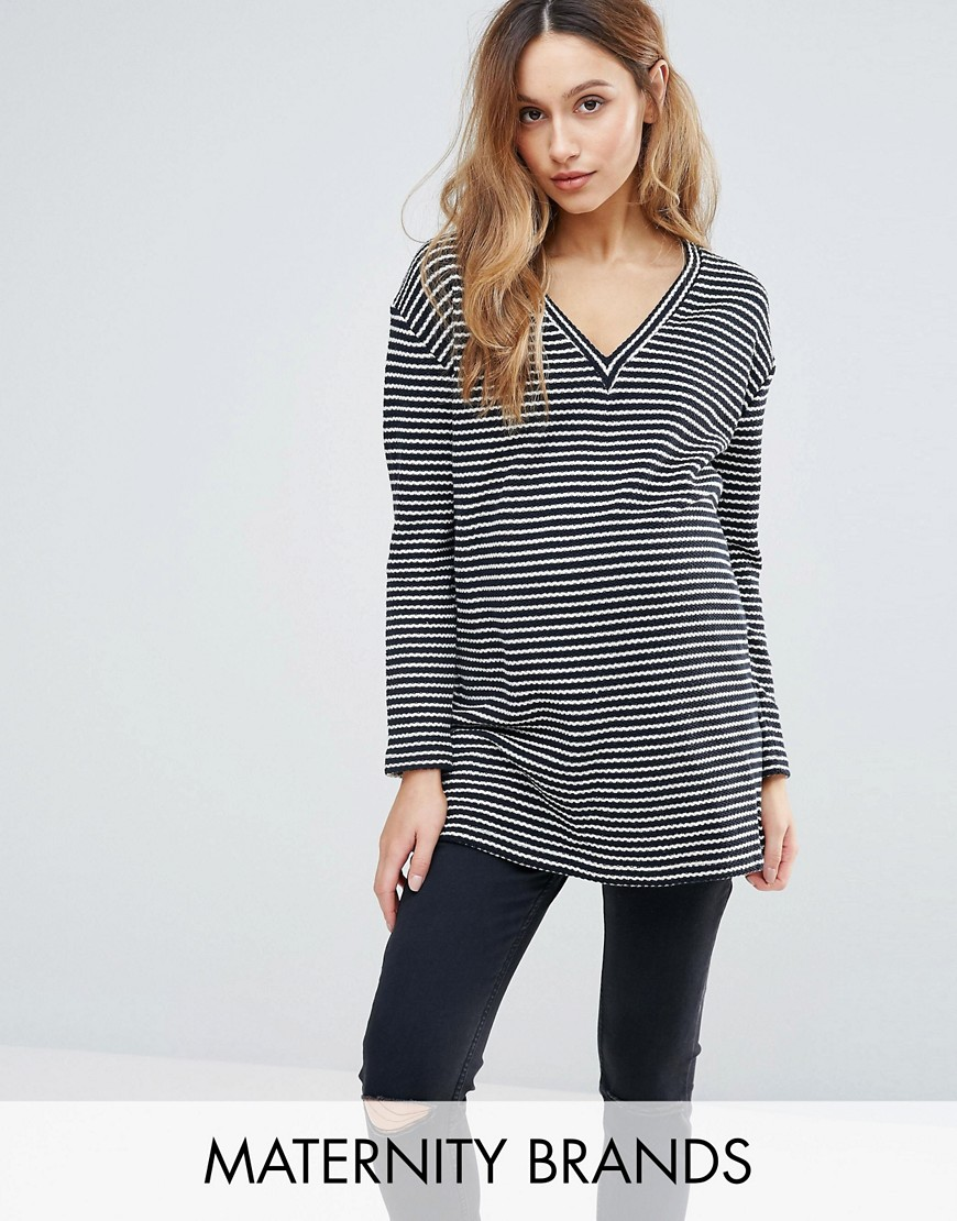 Isabella Oliver Striped Knitted Jumper - Navy
