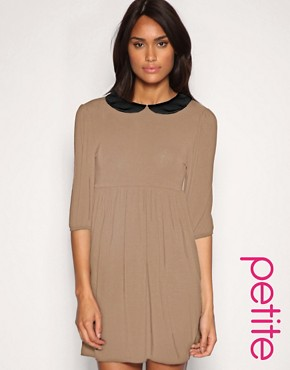 Image 1 ofASOS PETITE Peter Pan Collar Jersey Dress