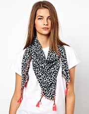 Maison Scotch Tassel Animal Print Scarf