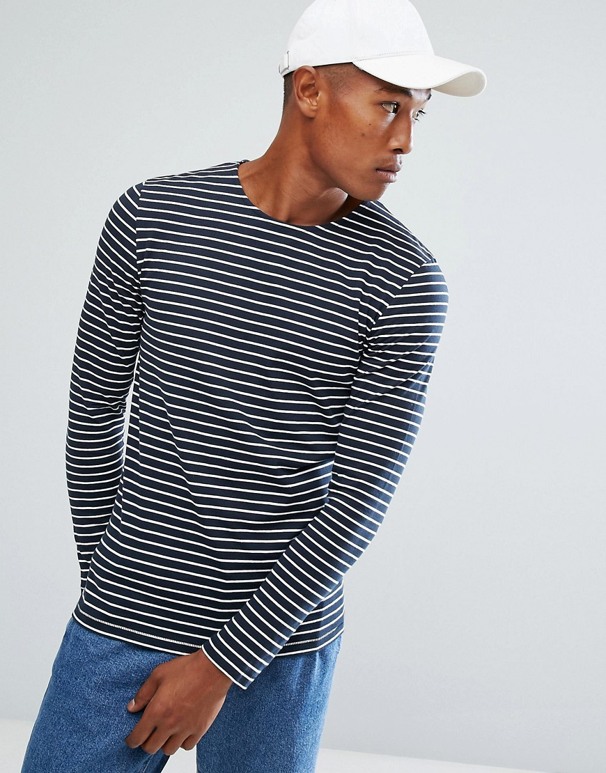 Minimum Striped Long Sleeve T-Shirt - Navy