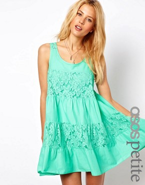 Image 1 ofASOS PETITE Exclusive Lace Insert Trapeze Dress