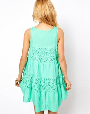 Image 2 ofASOS PETITE Exclusive Lace Insert Trapeze Dress