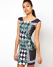 River Island Diamond Print Body-Conscious Tank Dress